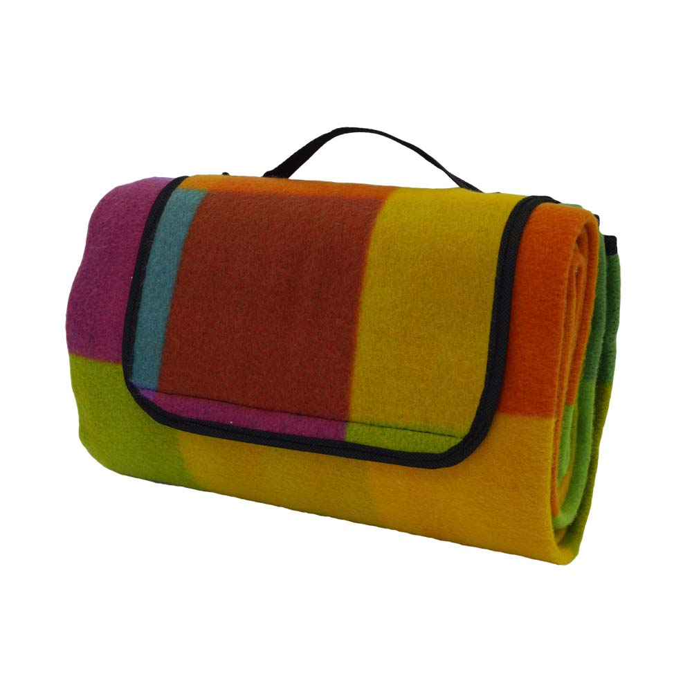 Colourful picnic blanket with waterproof backing and handle
