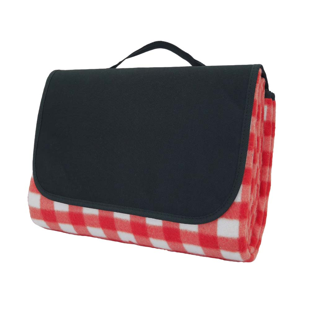 Red and white checked picnic rug with black backing and black handle