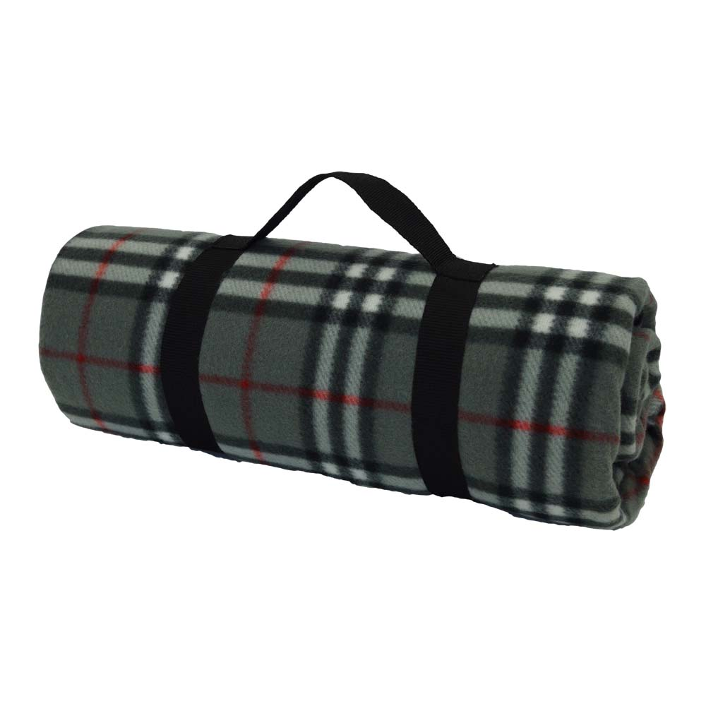 Grey, white and red tartan picnic blanket with black handle