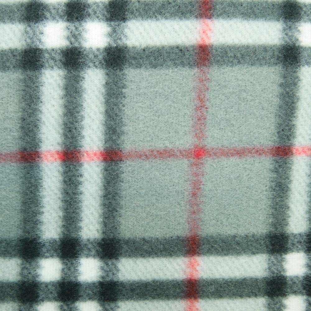 Close up of grey tartan picnic rug with waterproof backing