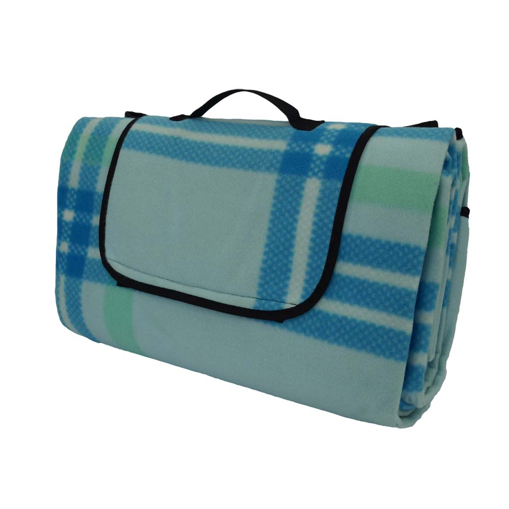 Blue and green tartan extra large picnic rug