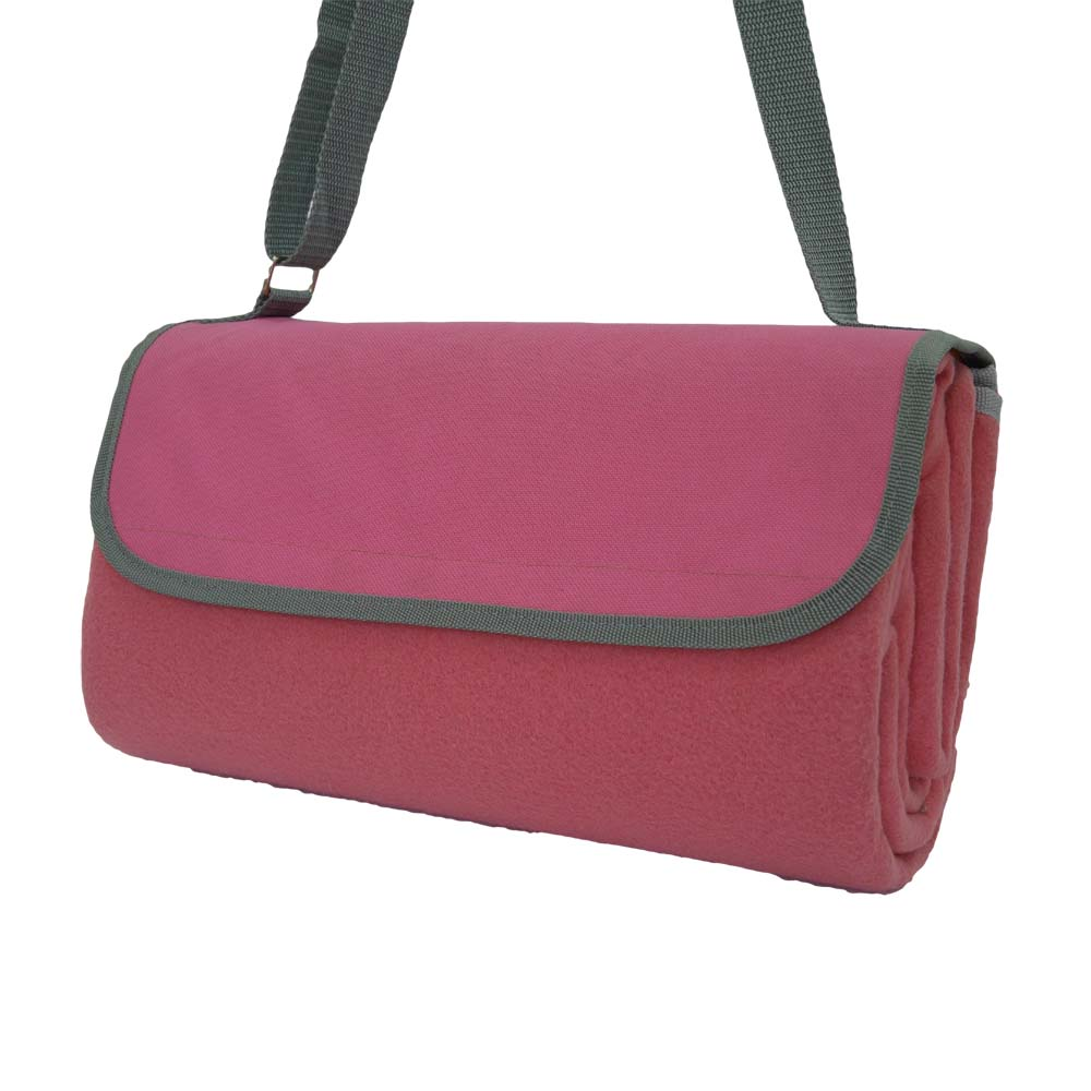 Pink and grey picnic rug with shoulder strap
