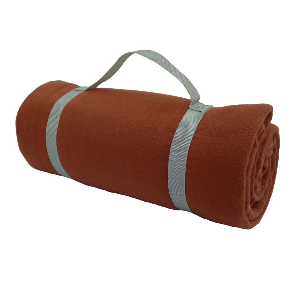 Burnt orange picnic blanket with carry handle