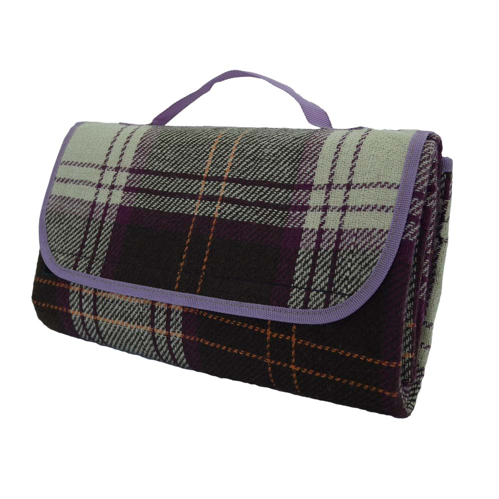 Purple tartan picnic rug with waterproof backing and handle