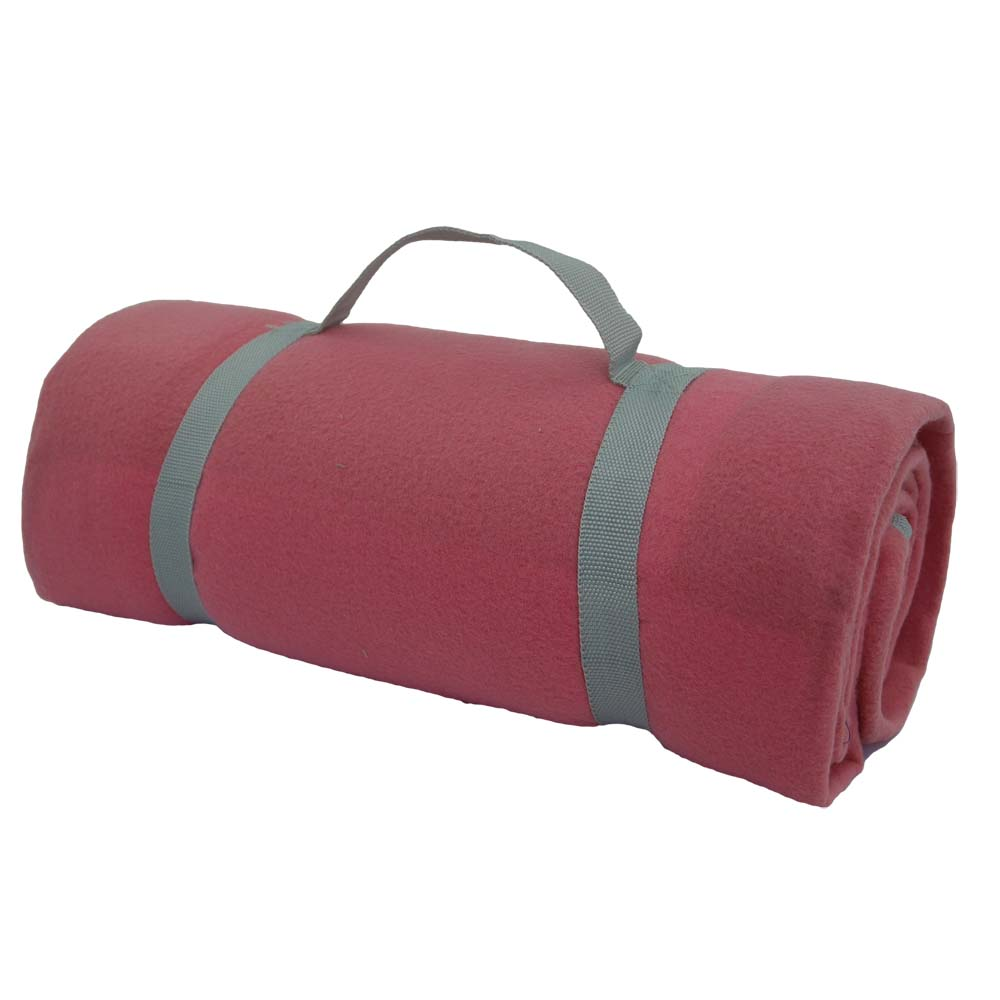Pink and grey picnic blanket with handle to carry