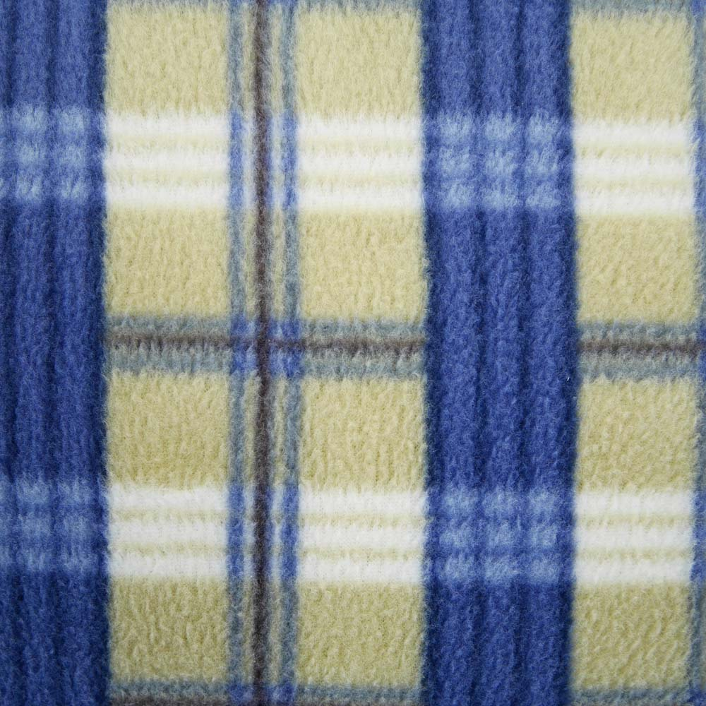 Close up of blue and brown tartan extra large picnic blanket