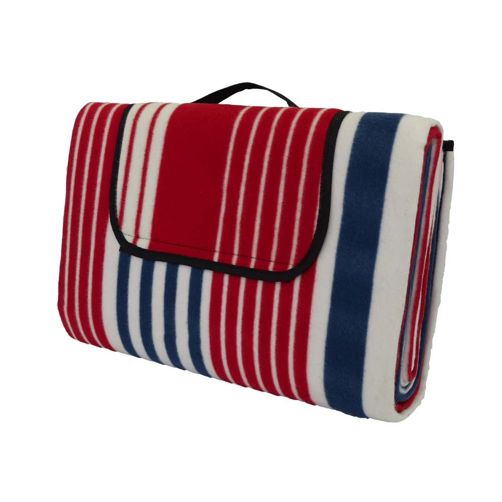 Blue and red striped large picnic blanket with carry handle