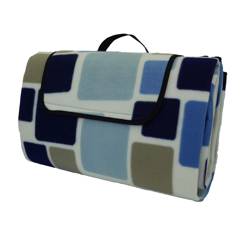 Large picnic rug with funky blue square pattern