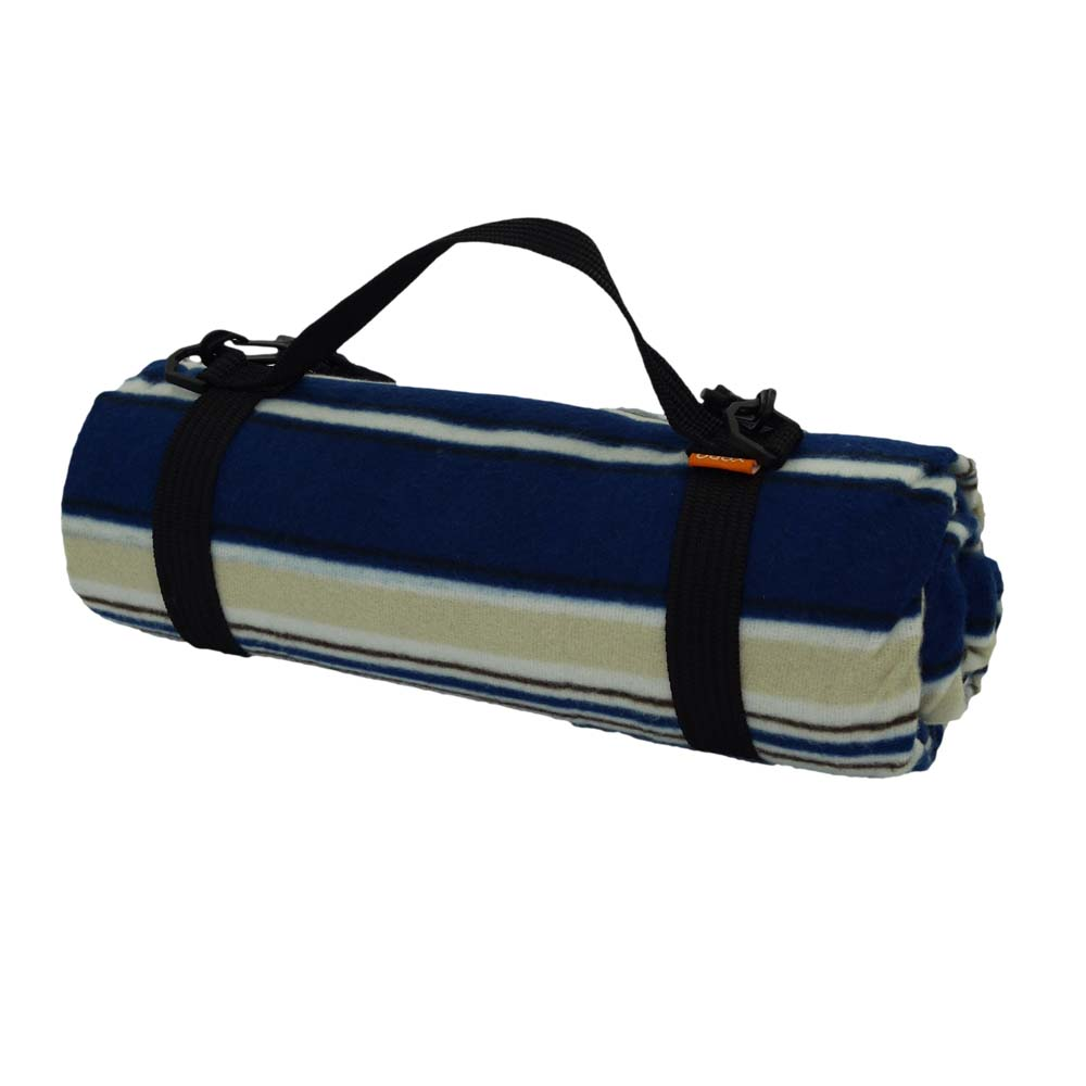Blue and beige stylish picnic rug with carry handle
