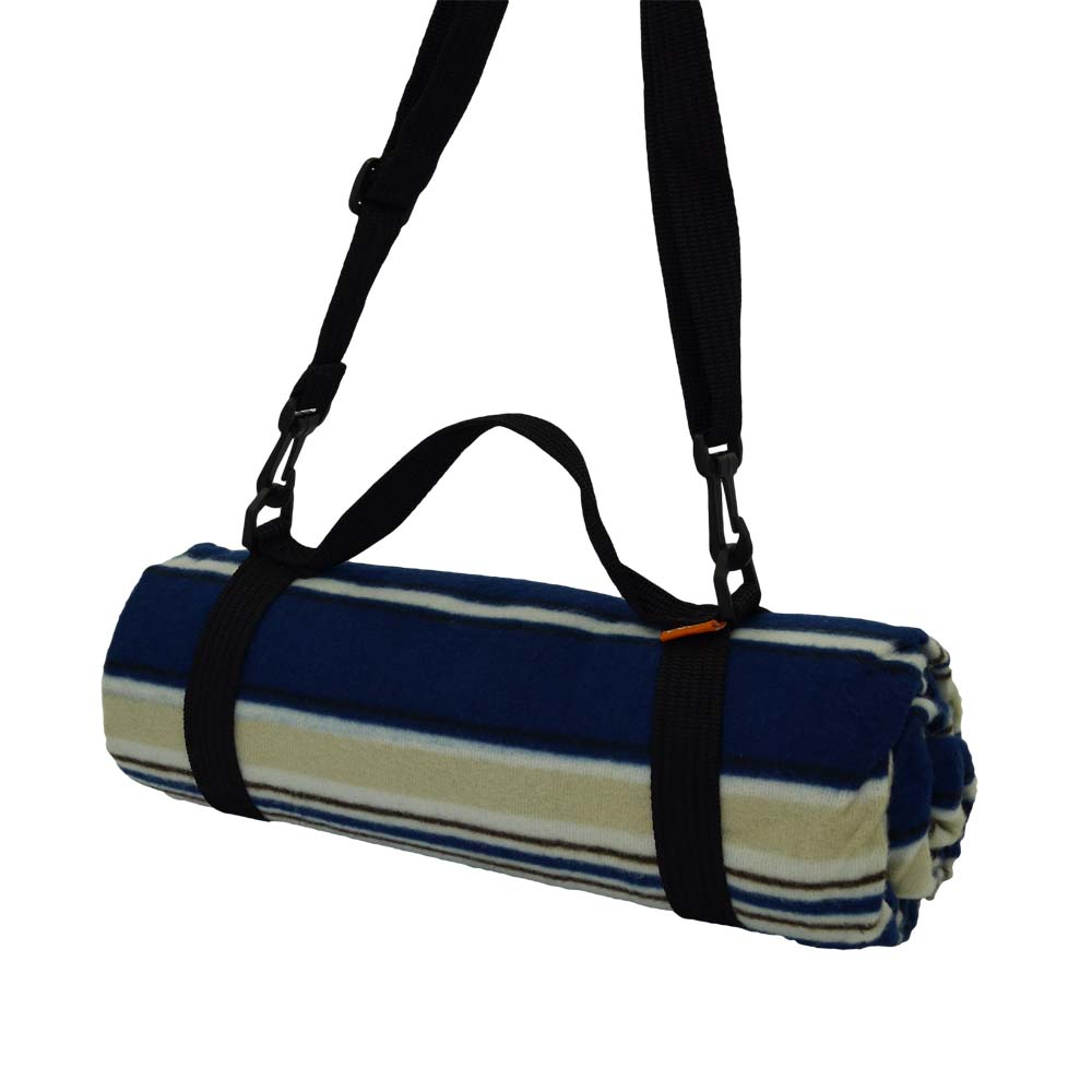 Blue and beige picnic blanket with shoulder strap