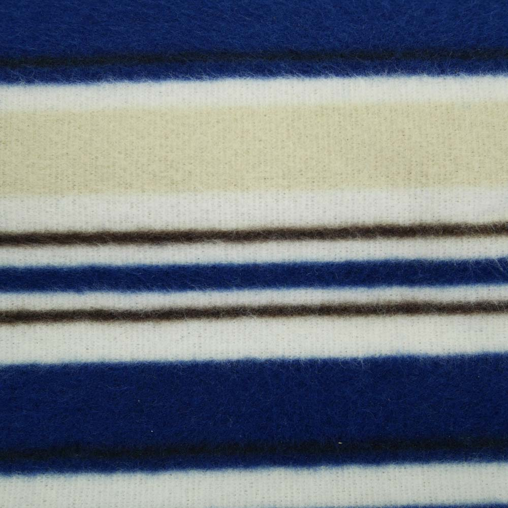 Close up of blue and beige picnic rug