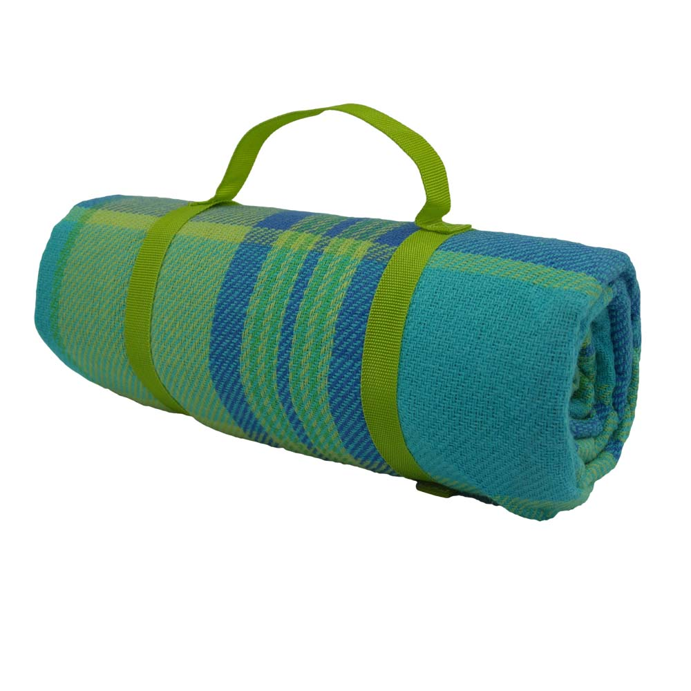 Blue, yellow and green tartan picnic blanket