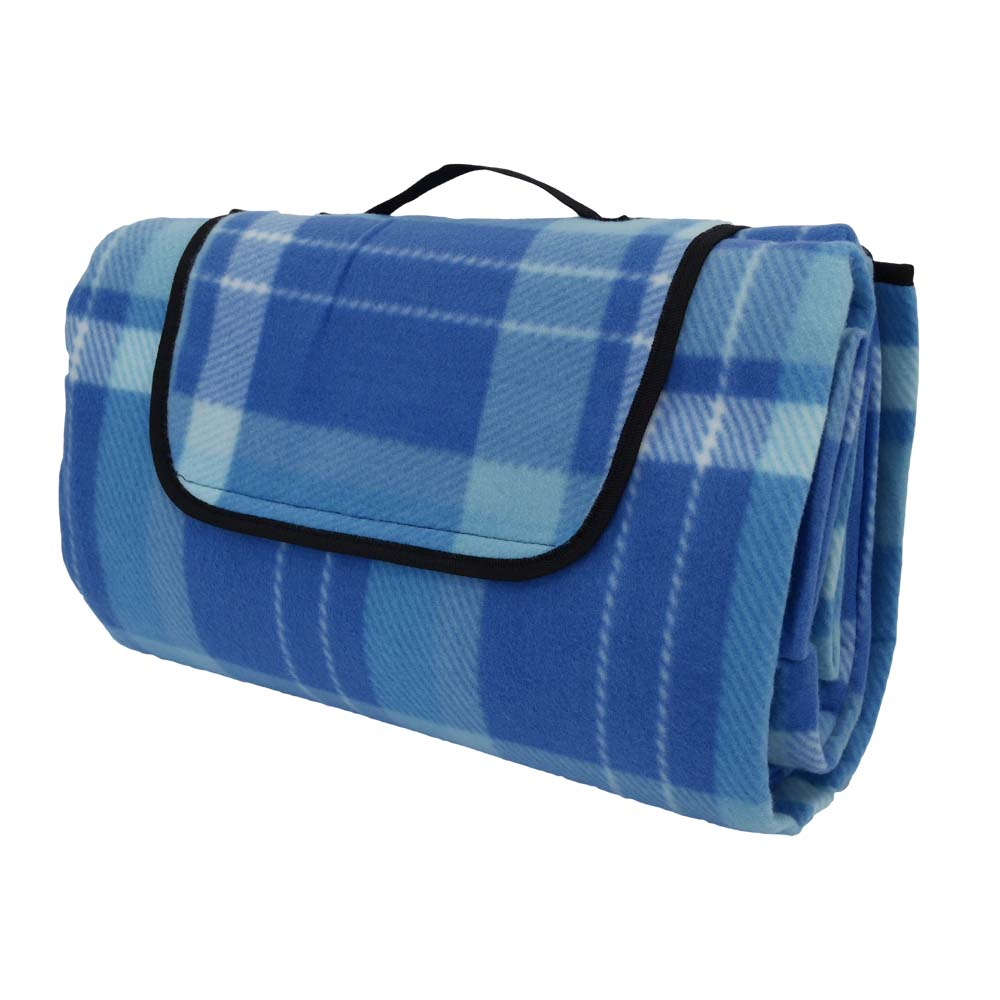 Blue tartan large picnic rug with black handle