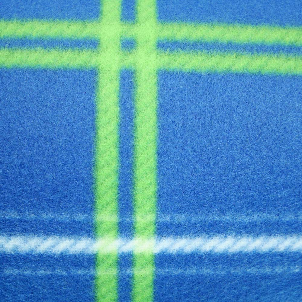 Close up of blue and green tartan picnic rug