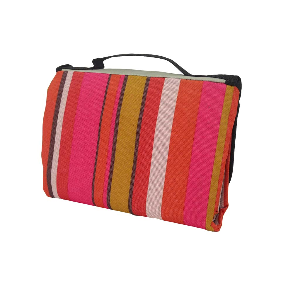 Back view of pinked striped waterproof picnic blanket