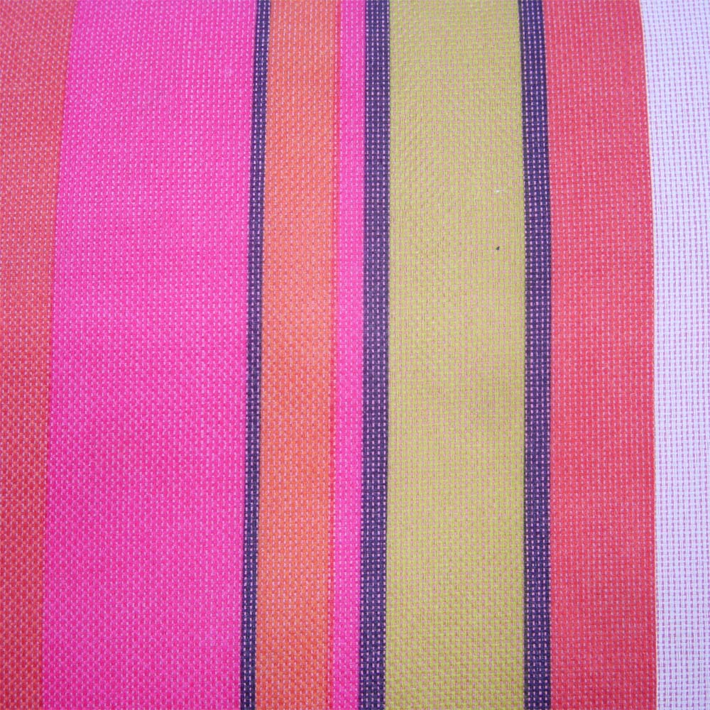 Close up of waterproof rug with pink and purple stripes