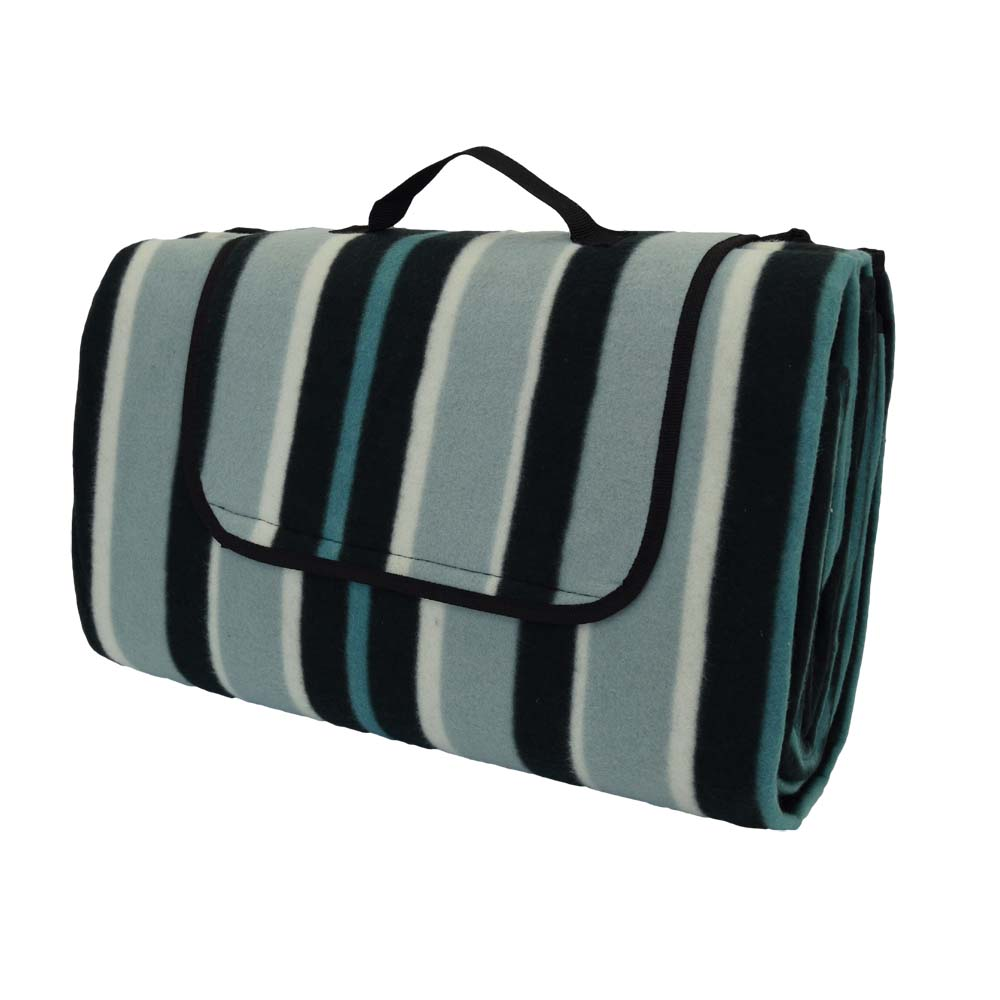 Blue and grey striped extra large picnic rug with carry handle