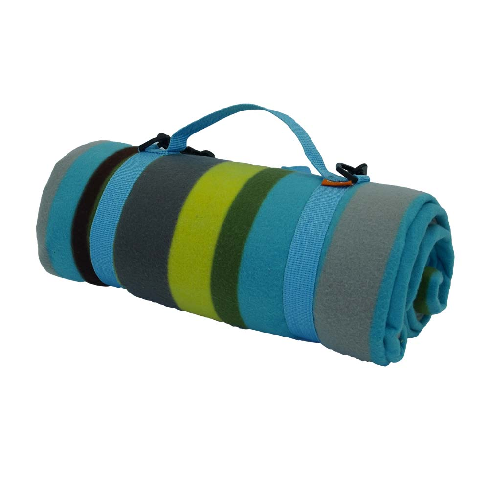 Colourful picnic blanket with convenient blue carry strap