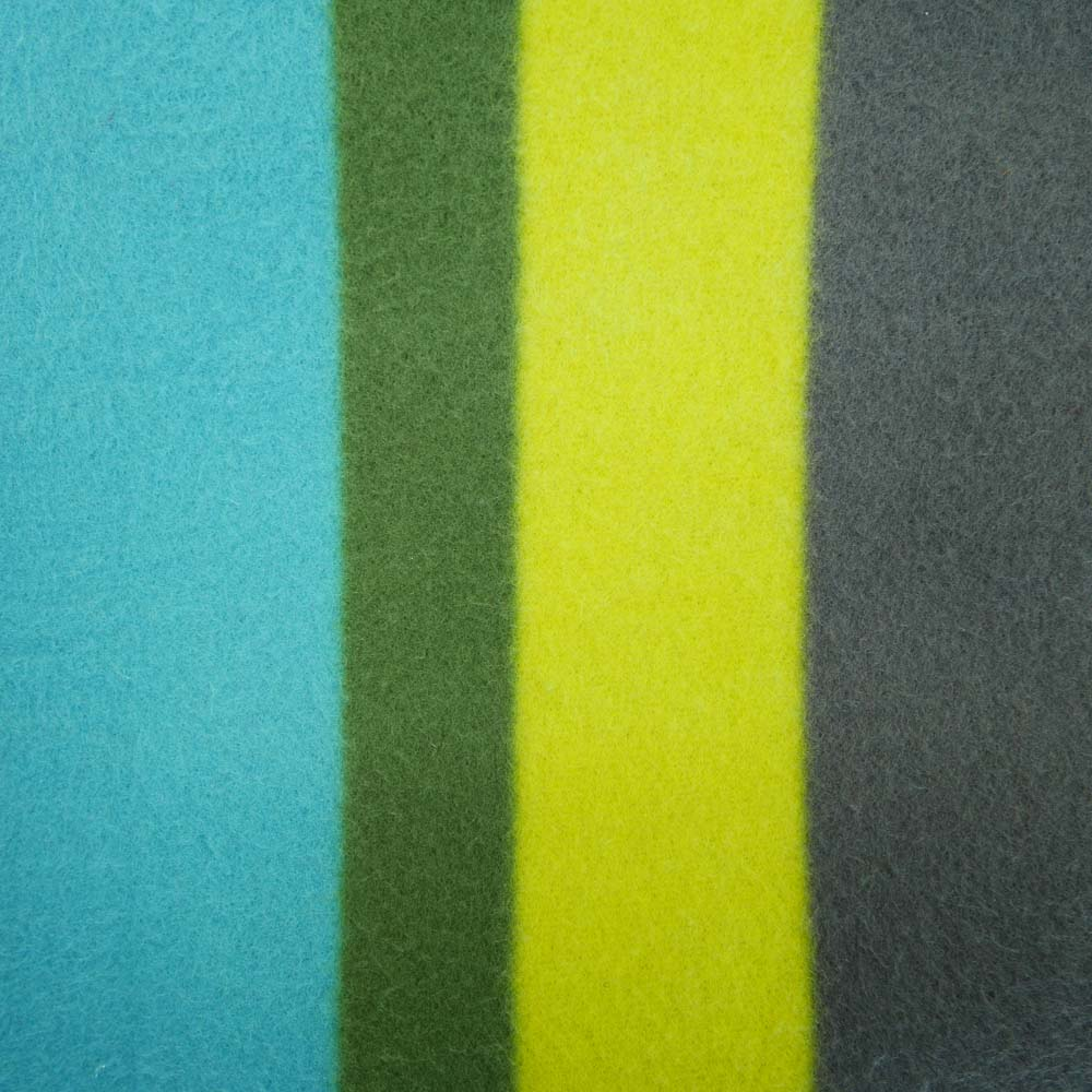 Close up of colourful striped picnic blanket