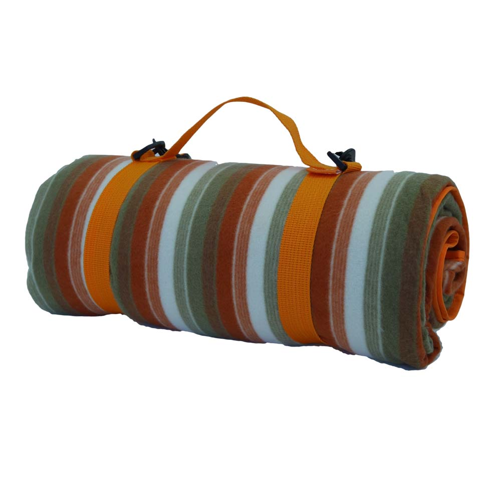 Orange striped picnic blanket with carry hanle