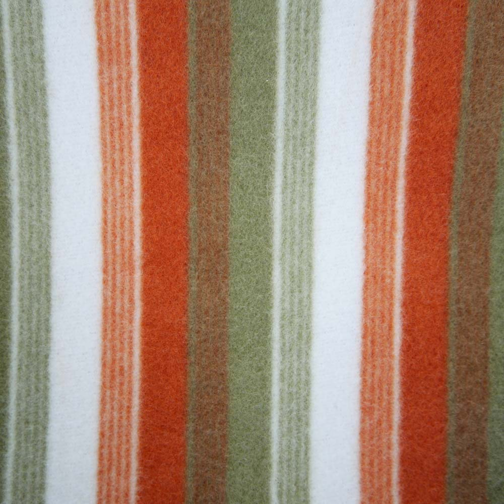 Close up of green and orange striped picnic blankets