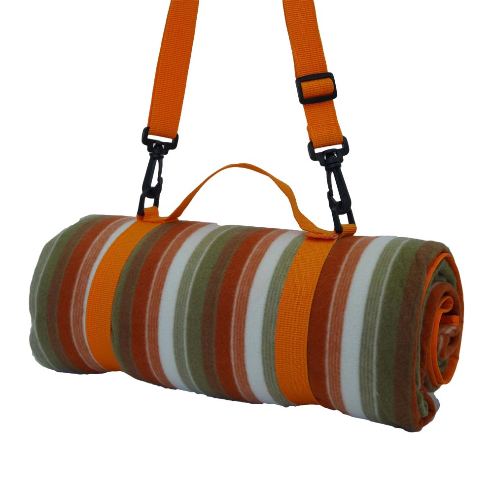 Colourful striped picnic rug with shoulder strap