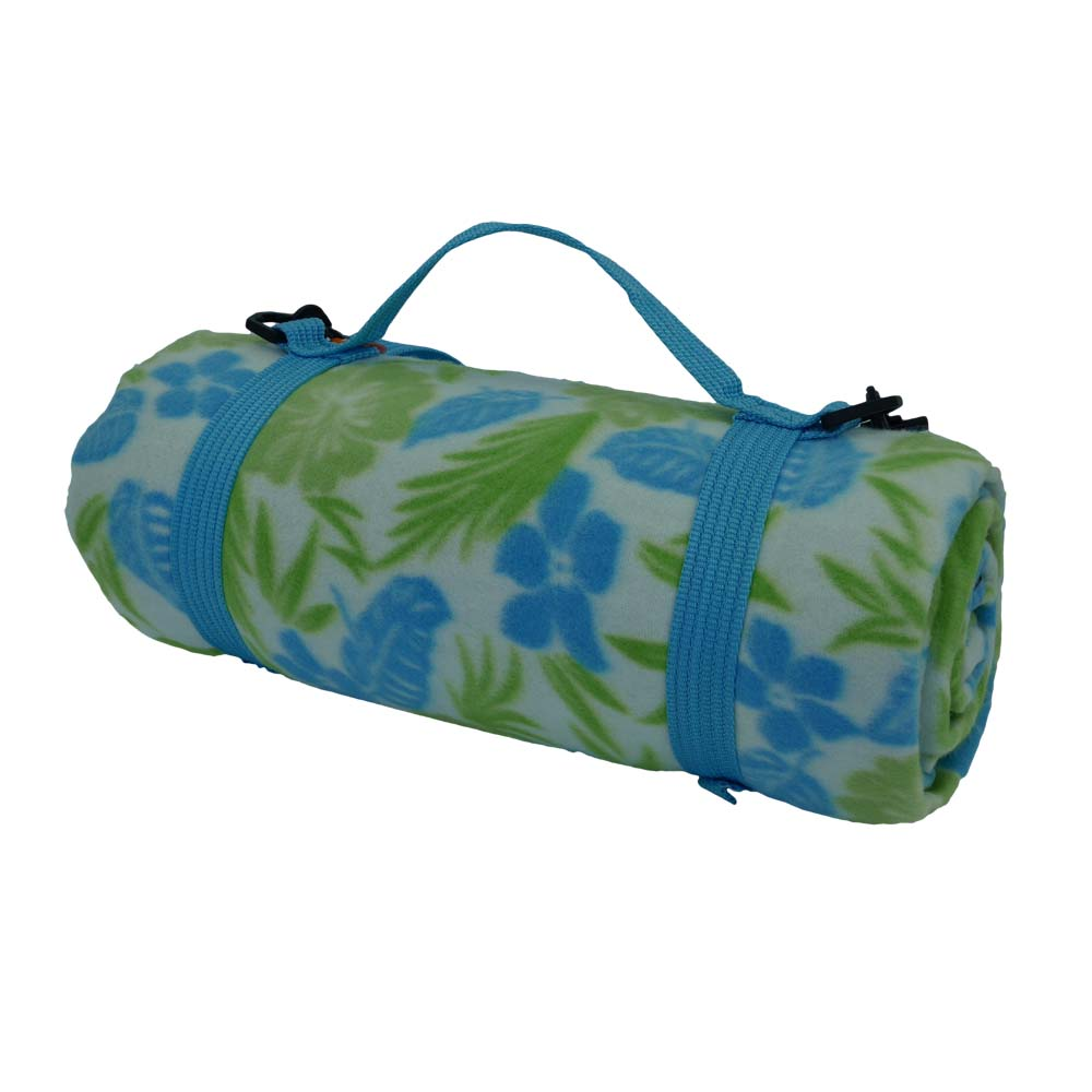 Picnic blanket with hibiscus flowers in blue and green