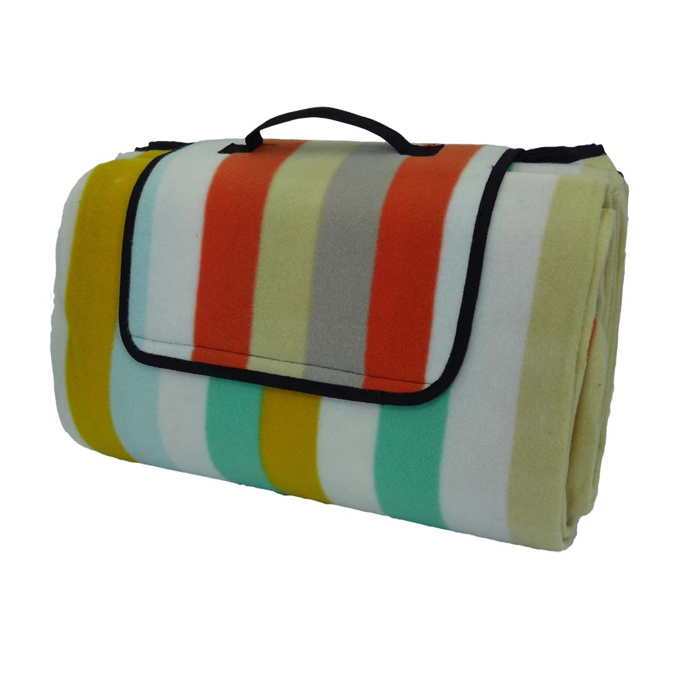 Large picnic blanket with colourful stripes and waterproof backing