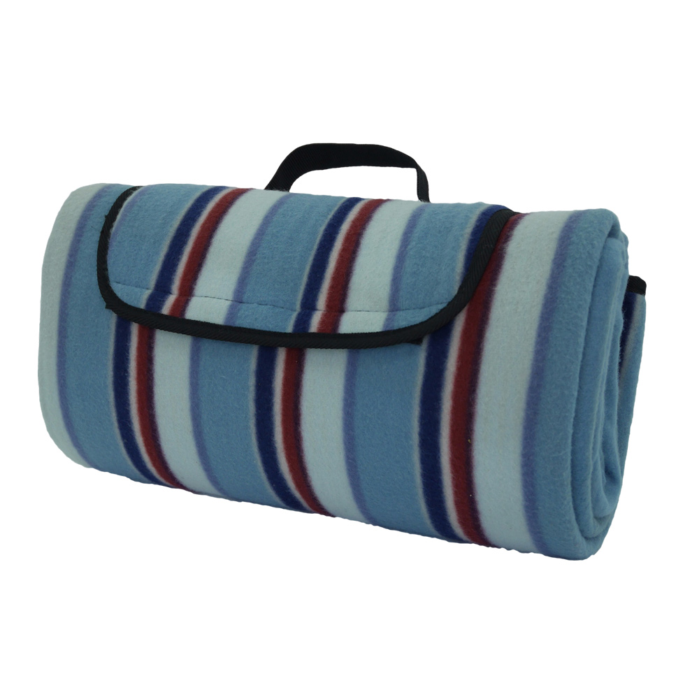 Blue and red striped picnic blanket