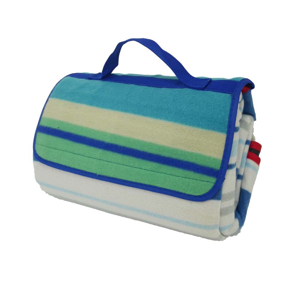 Blue and green striped picnic rug with carry handle
