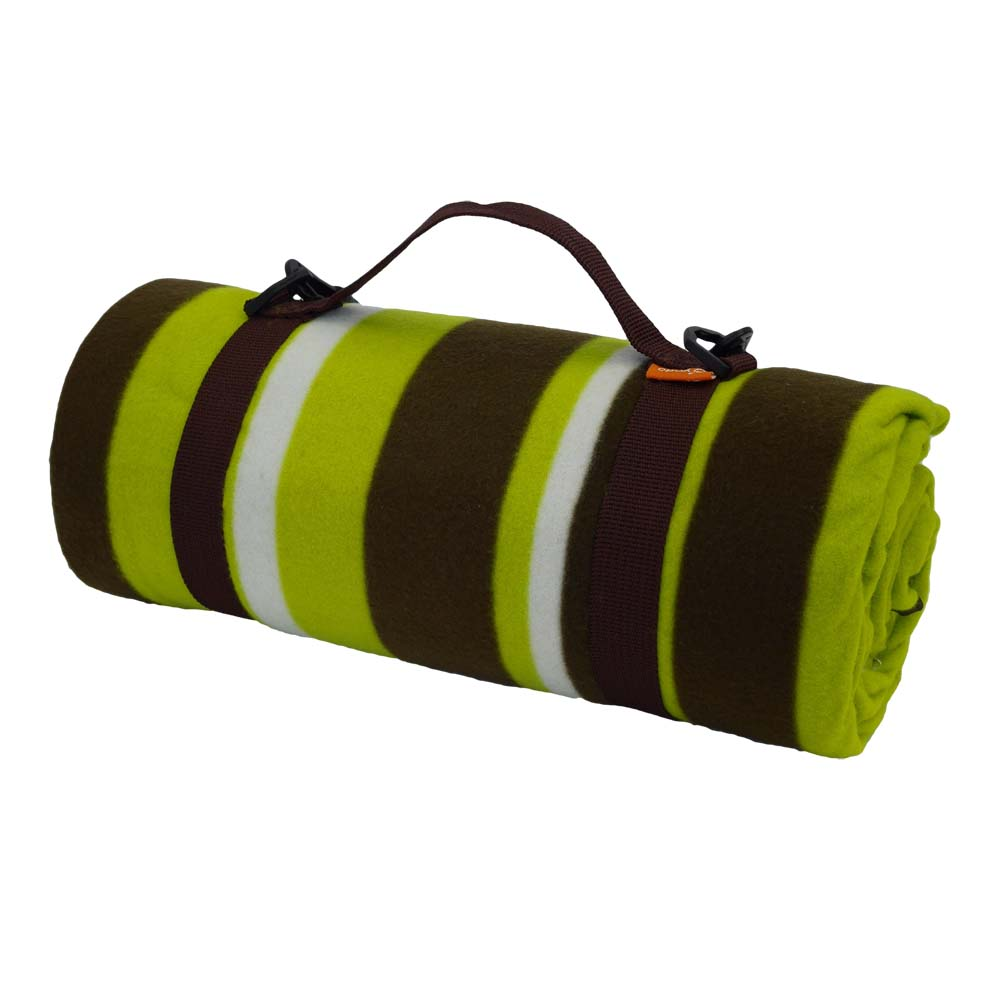 Brown and lime green striped picnic blanket with carry handle