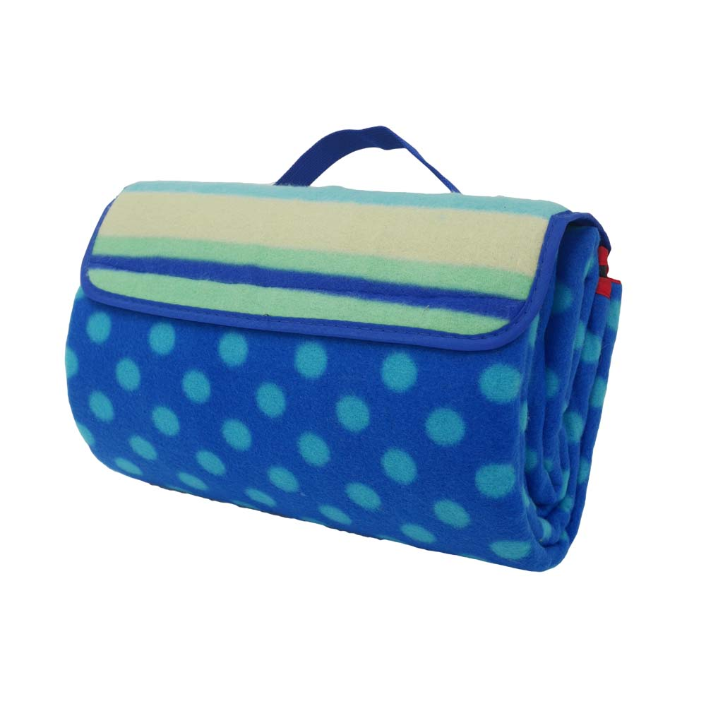 Blue polka dot picnic blanket with carry strap