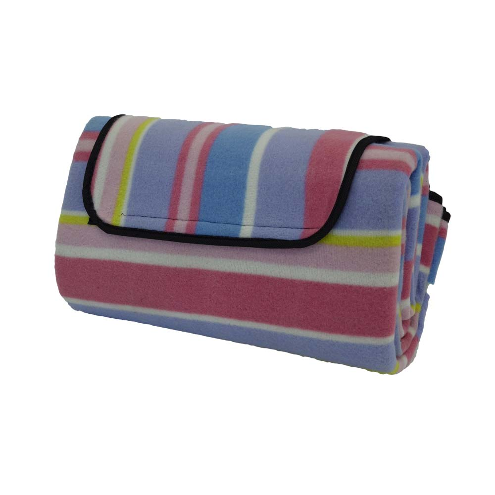 Pink and purple striped picnic rug