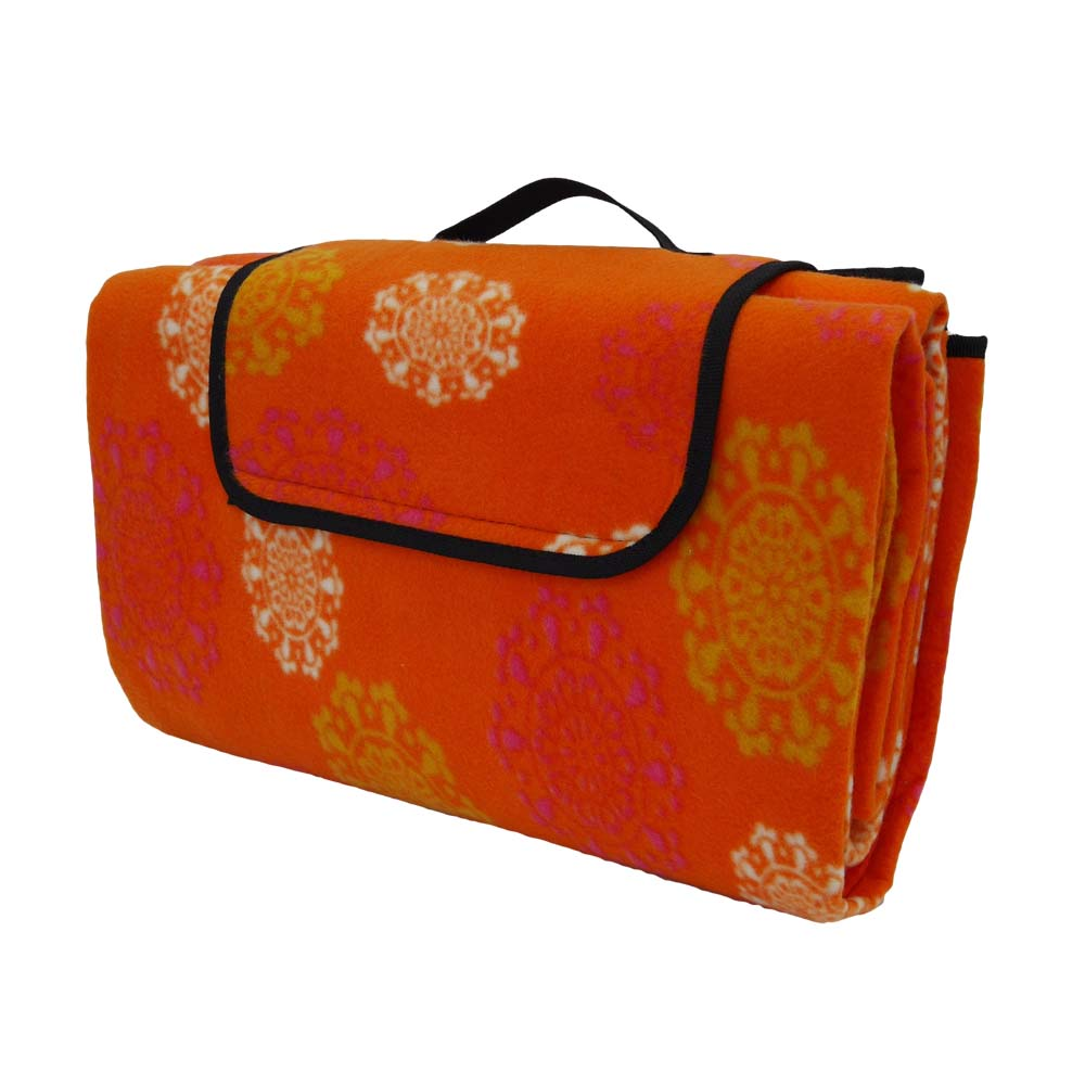 Funky orange large picnic blanket with strap