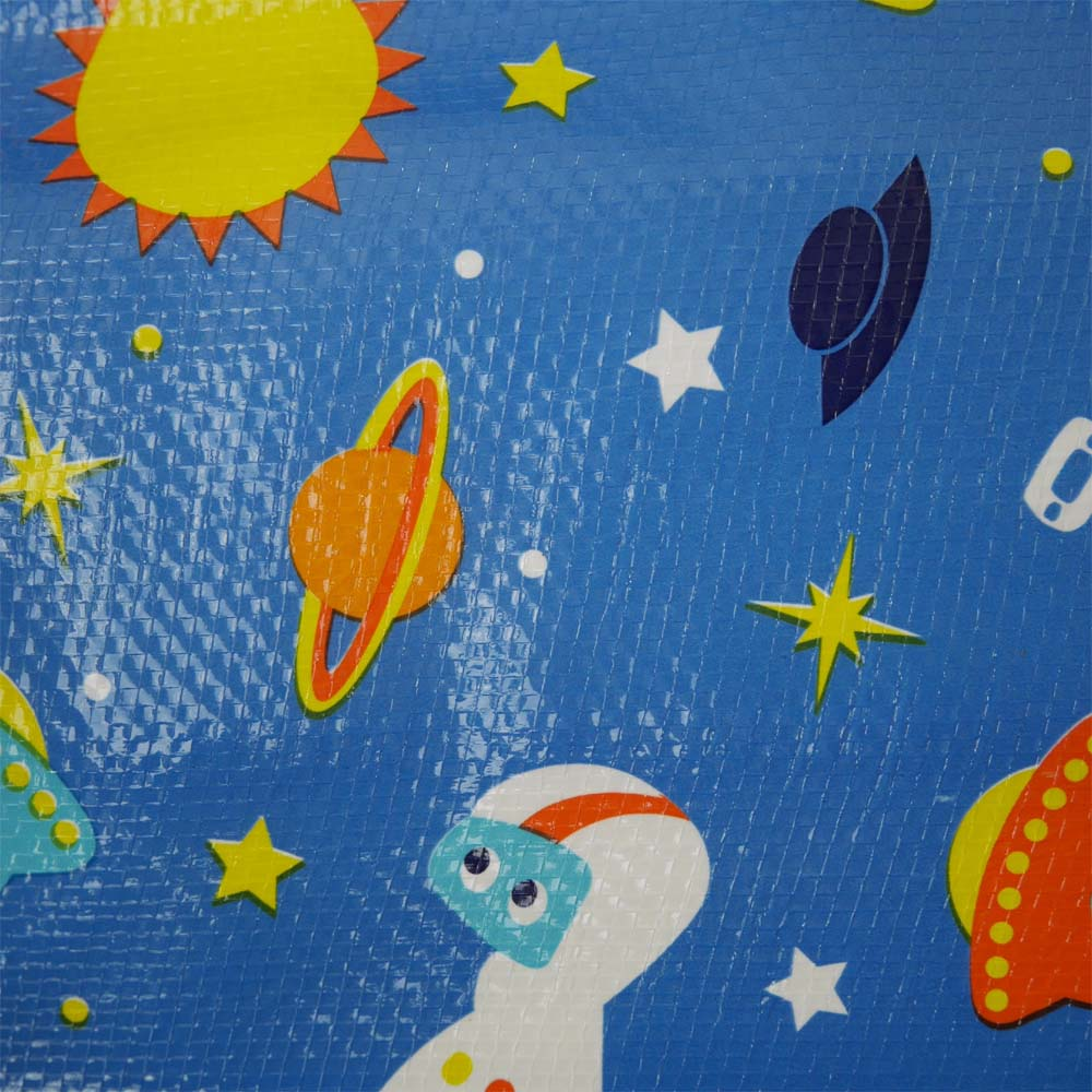 Close up of waterproof picnic mat with space design