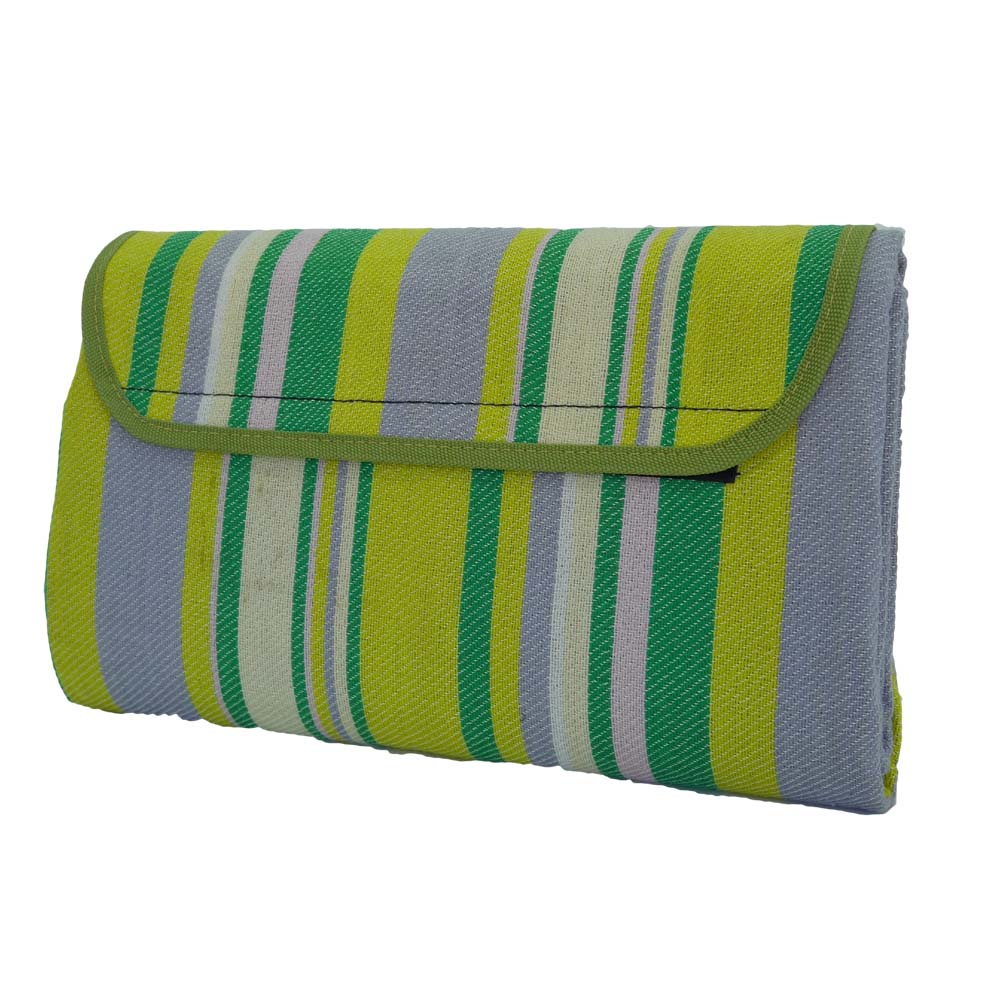 Green, yellow and grey striped picnic blanket