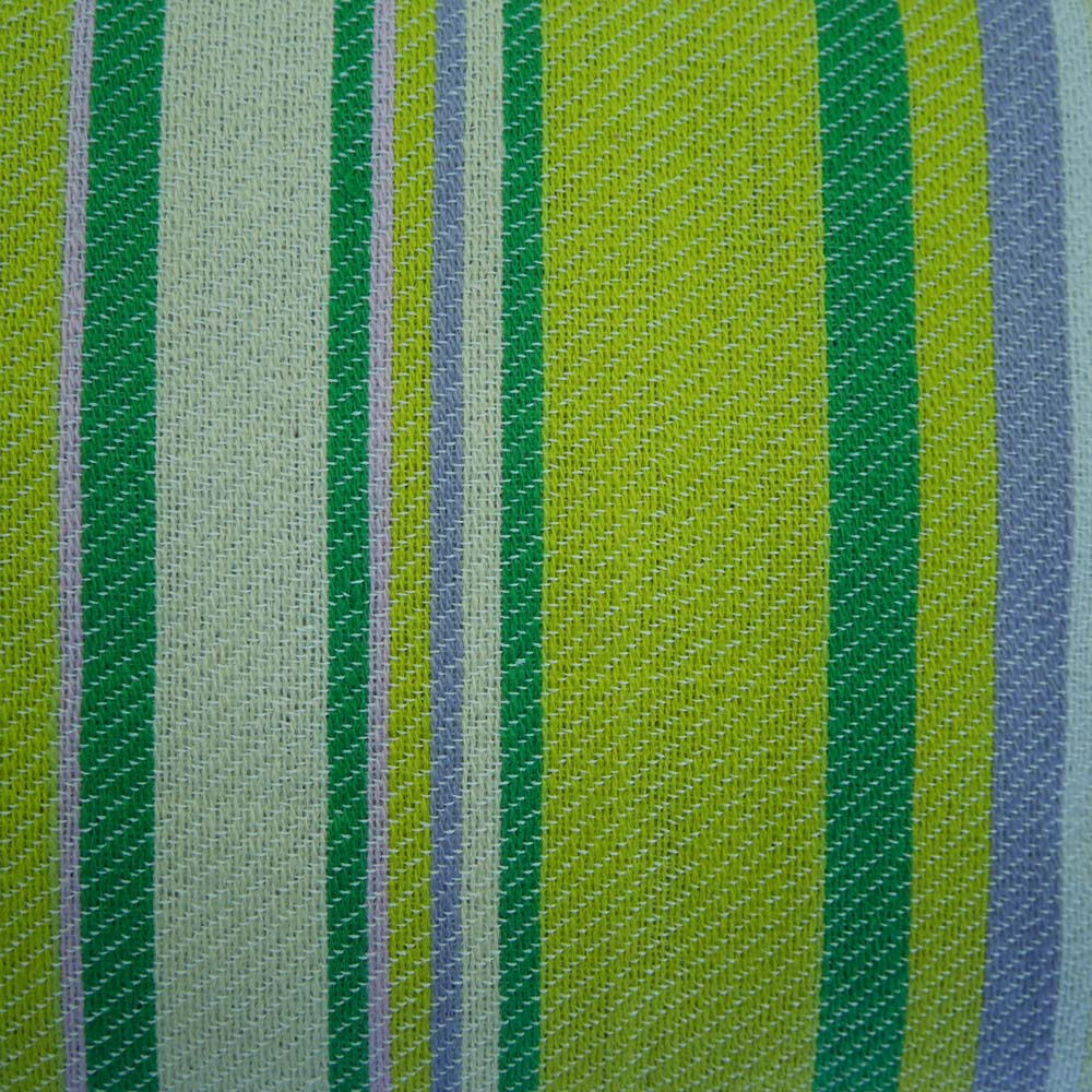 Close up of green and yellow picnic rug