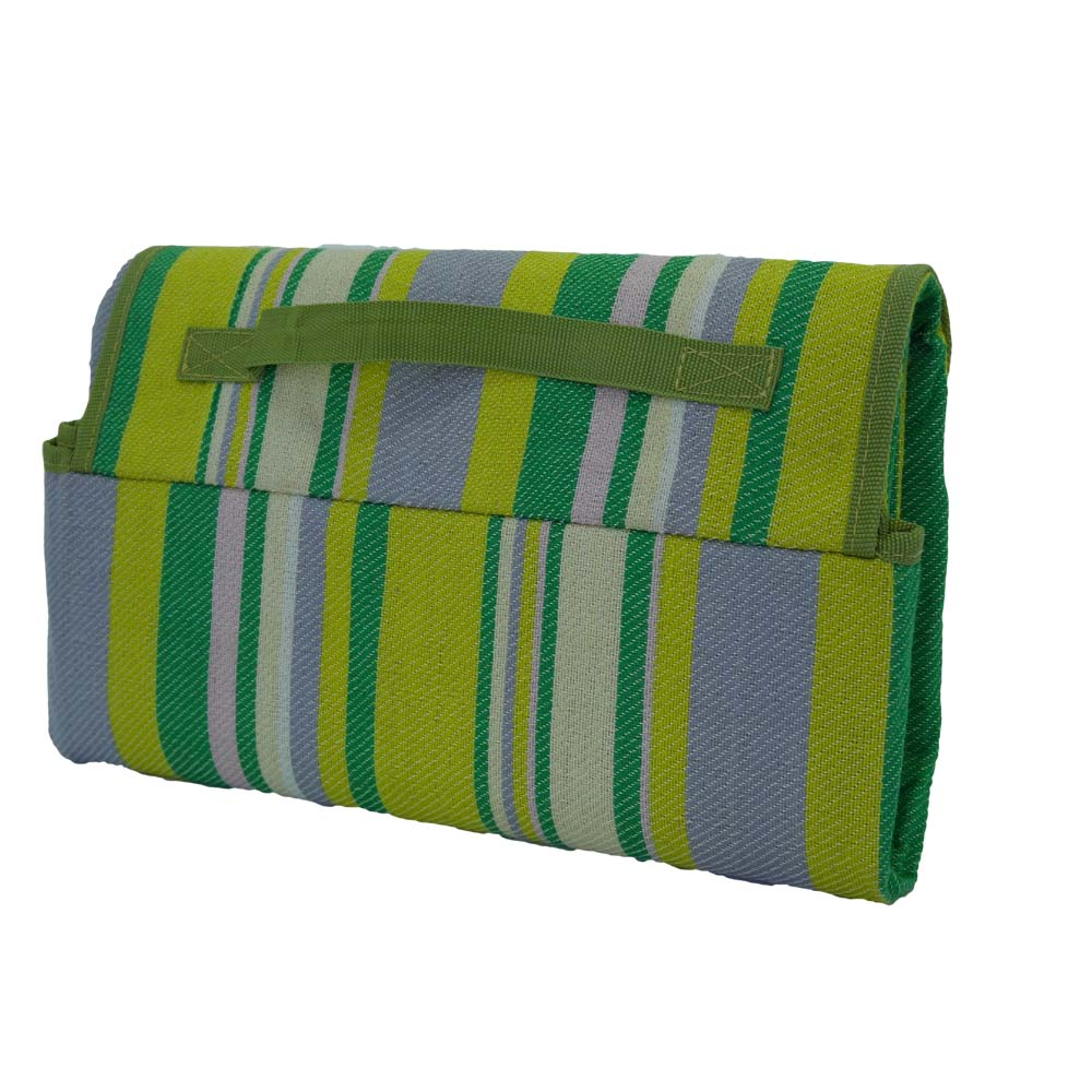 Back view of green and yellow striped picnic rug