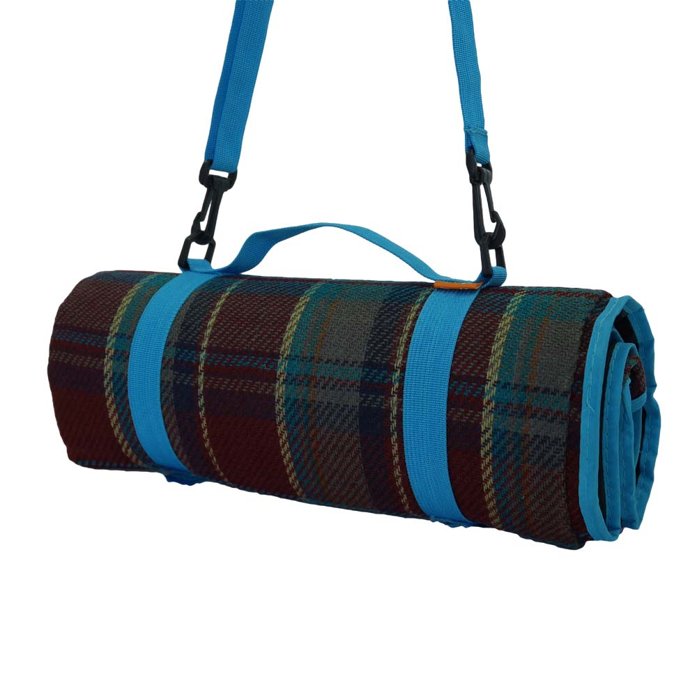 Maroon and blue tartan picnic blanket with shoulder strap
