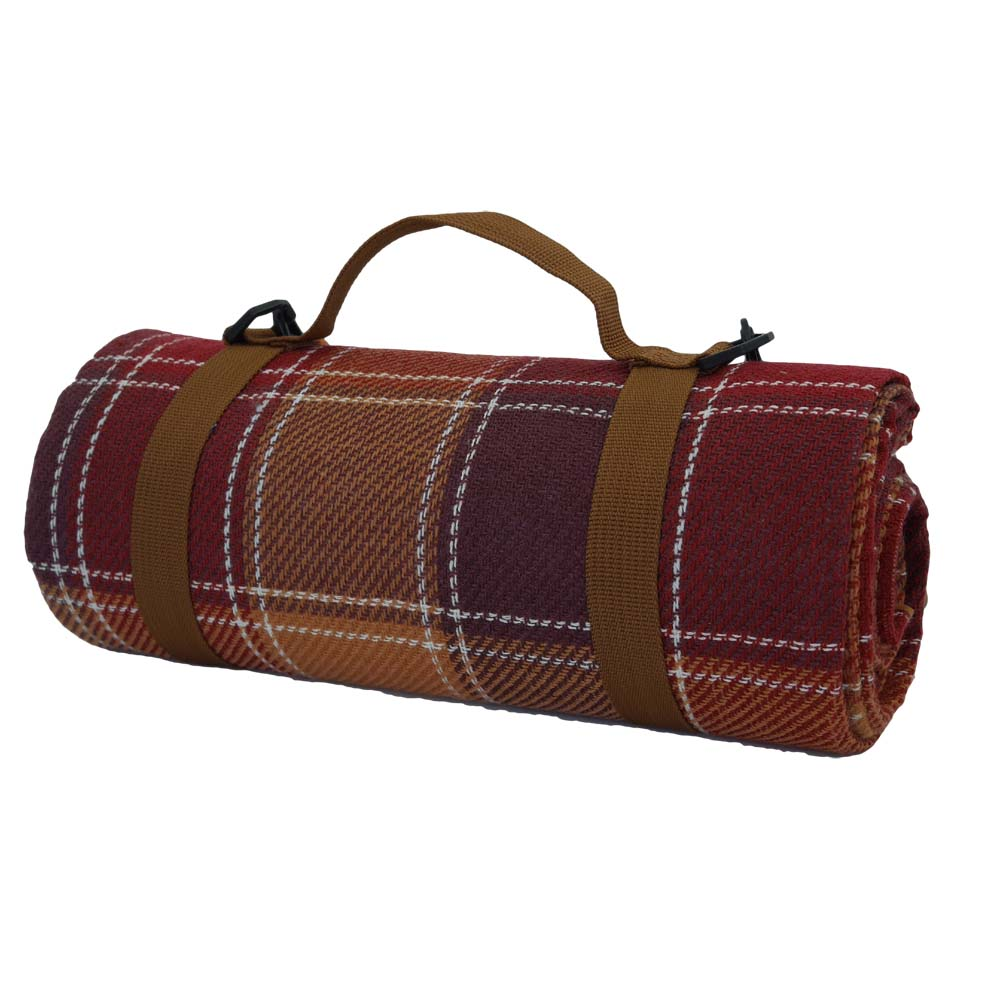 Maroon and brown tartan picnic rug with carry handle