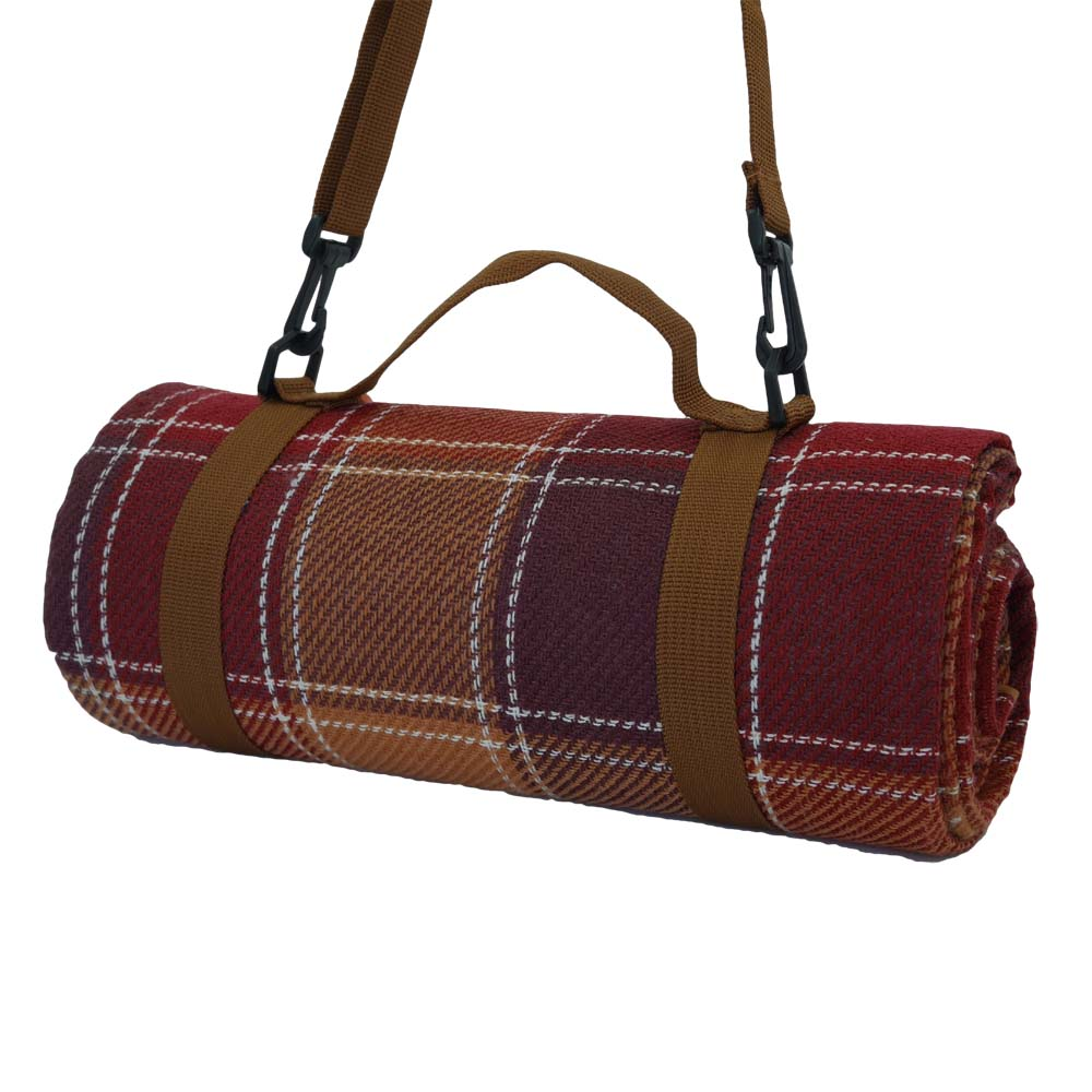 Tartan picnic blanket with shoulder strap