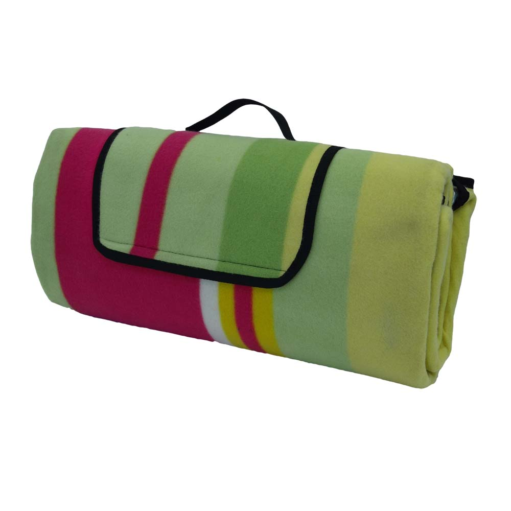 Pink, green and yellow picnic rug with handle