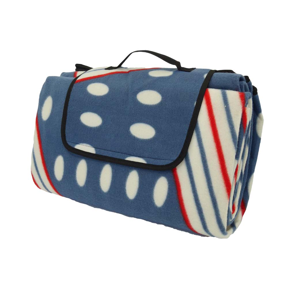 Blue, white and red extra large picnic rug with stipe and polka dot pattern