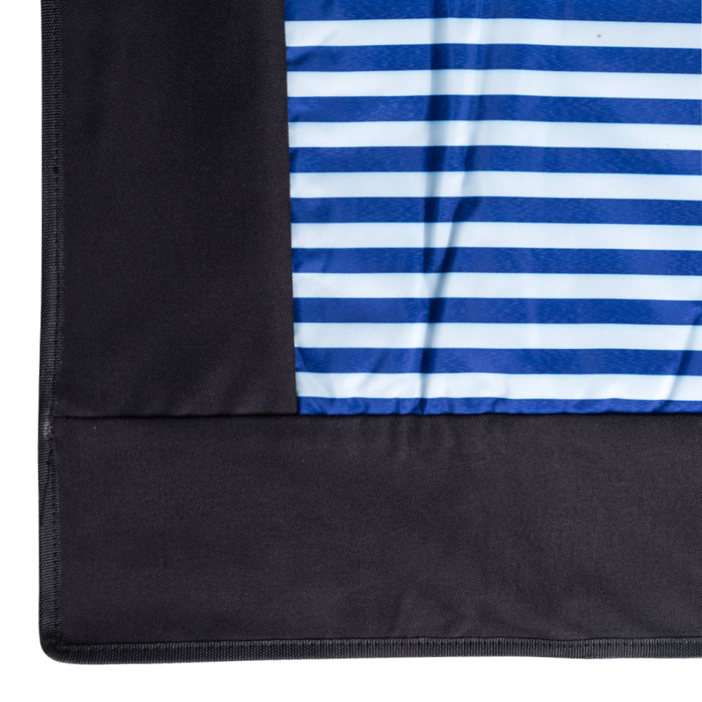 Edge Picnic Rug with Blue and White Stripes