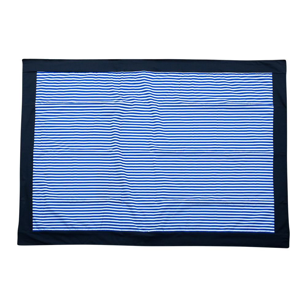 Picnic Rug with Blue and White Stripes