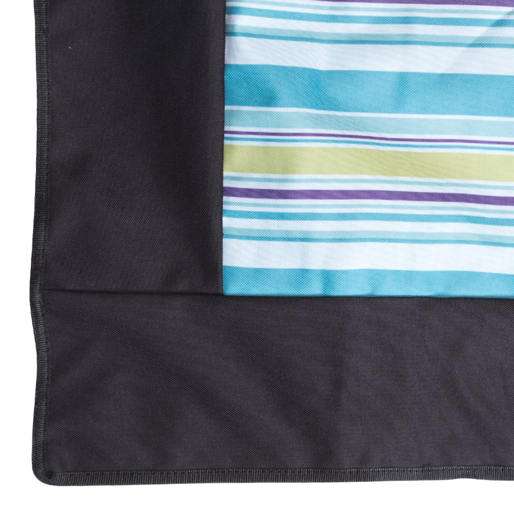 Edge Picnic Rug with Blue, Green and Purple Stripes
