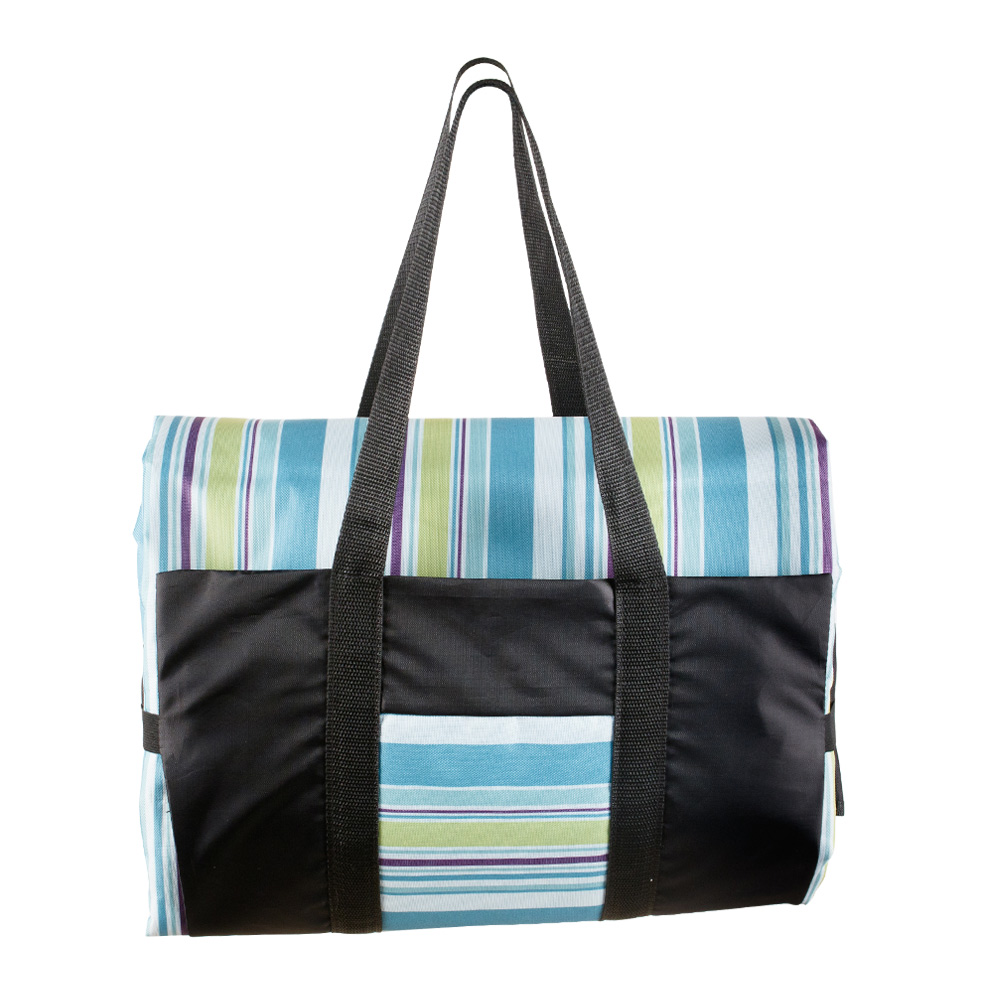 Picnic Rug in a Blue, Green and Purple Stripes and Black Bag