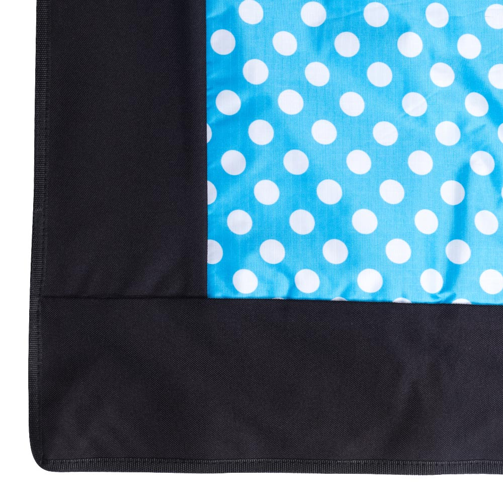 Edge Blue Picnic Rug with White Polca