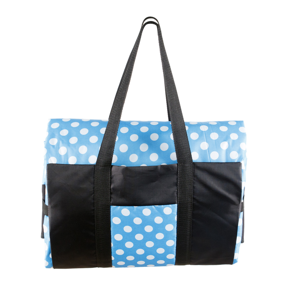 Blue Picnic Rug in a Black and Blue Bag with White Polca